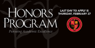 Honors Program Deadline - February 27
